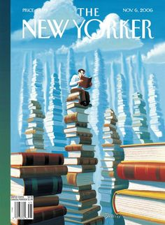 Eric Drooker (), / 'Bookopolis' cover of The New Yorker magazine, November 6, 2006 … depicting reading man sitting on top of one of many towering stacks of books