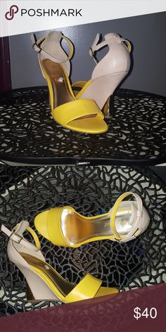 Women's shoes Nude, Yellow and Gold Sz 7.5/37.5 BAMBOO Shoes Wedges