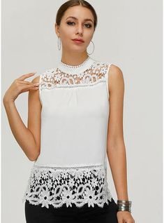 [£ Lace Stand-up Collar Sleeveless Casual Sexy Tank Tops - VeryVoga African Fashion Dresses, Fashion Outfits, Fashion Blouses, Cheap Fashion, Sexy Bluse, Blouse Sexy, Elegant Style Women, Diy Fashion Hacks, Sleeveless Outfit