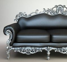 """""""Leather and metal sofa. Steam punk is not my style but this could work in a room with that theme."""" That was the Original comment. I don't really think u can put this in a """"Steampunk"""" box.If u must put a name to it I'd say Baroque. It's Funky Cool & Sl Gothic Furniture, Funky Furniture, Leather Furniture, Unique Furniture, Furniture Decor, Living Room Furniture, Furniture Design, Furniture Online, Office Furniture"""