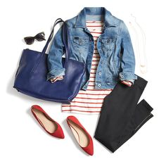 For a cute, comfortable weekend outfit, opt for a striped tee & zipper detail leggings. Finish off the look with a classic denim jacket & red flats for a pop of color.
