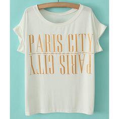 Scoop Neck Letter Print Simple Style Cotton Short Sleeve Women's T-shirt