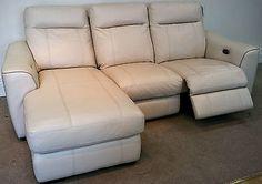 Cream Leather elec reclining 3str LHF lounger + elec rec 2str Sofa (212 S) £999 in Home, Furniture & DIY, Furniture, Sofas, Armchairs & Suites | eBay