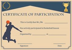 Basketball participation certificate Blank Certificate Template, Certificate Format, Printable Certificates, Perfect Attendance Certificate, Free Basketball, Basketball Season, Best Templates, Free Design, Amazing
