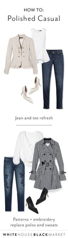 """Caught in a weekend look that doesn't match the put-together style you have during the workweek? Meet what we like to call, """"polished casual."""" Your personal style shouldn't be compromised on the weekends. We'll show you how to update your weekend style in outfits that are easier than you think."""
