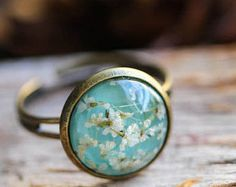 Silver Ring real flower resin Ring with real dried flower