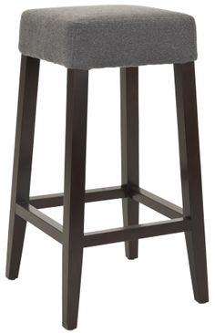 The classic Johnson Bar Stool in Heather Grey offers clean lines and comfortable seating for any decorating style from Mid-century retro to transitional and contemporary. Sturdy Birchwood legs with an mahogany finish support a seat cushion upholstered in heather grey fabric of 100% polyester. No assembly required.