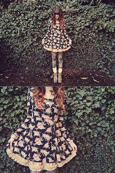 Basic House Black Floral Dress, Jewel Embellished Tutu, Forever 21 Floral Tights, Juicy Couture Knitted Socks, Jeffrey Campbell Flotal Litas, Forever 21 Clock Necklace