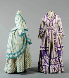 Two circa 1870 English striped gauze summer gowns. The first of bright turquoise stripes and lace, with fitted bodice, skirt and peplum; the other striped purple with satin bows. 1870s Fashion, Victorian Fashion, Vintage Fashion, Victorian Fabric, Victorian Dresses, Victorian Era, Historical Costume, Historical Clothing, Vintage Gowns