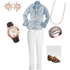 """""""Casual #RoseGold Day"""" by hamiltonjeweler on Polyvore"""