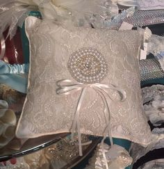 Champagne Lace Ring Pillow with Pearls