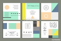 Wektor: Collection of universal cards. Templates with trendy geometric shapes