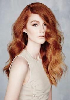 rote haare lang wellen mit schönem dezenten make up red hair czerwone wlosy
