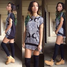 Cute timberland outfit with long socks