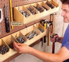 Pin by mark dauphin on Tool storage in 2019 Garden Tool Storage, Shed Storage, Diy Storage, Produce Storage, Garage Workshop Organization, Workshop Storage, Garage Wall Storage, Garage Tools, Tools Tools