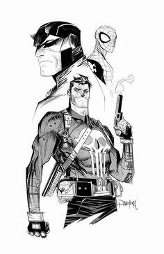 Daredevil, Spider-Man, Punisher- artist unknown