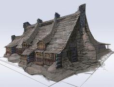 Fantasy Town, Fantasy Map, Medieval Fantasy, Fantasy World, Fantasy House, Skyrim House, Viking House, Viking Village, Elder Scrolls V Skyrim