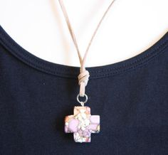 Necklace/ Purple Cross Charm / Tan Suede by JustforJoyCreations, $18.00 #RT