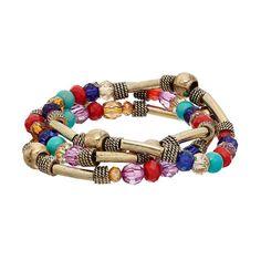 Beaded Antiqued Stretch Bracelet Set, Women's, multicolor