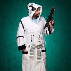 This Star Wars Stormtrooper Bathrobe should be perfect for chilling out like an elite soldier of the Galactic Empire from the comfort of your own home.  An officially licensed Lucasfilm collectible, it's a bathrobe styled after the Stormtrooper armor found in the Star Wars films.  That way, you can dress up in battle armor without being constrained by all that heavy and bulky gear.