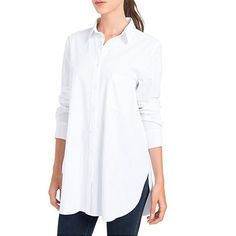 Clothing, Shoes & Jewelry > Women > Clothing > Tops & Tees > Blouses & Button-Down Shirts > Lysse Women's Shiffer Button Down Shirt (White,L. Long White Shirt, White Button Down Shirt, Button Downs, White Shirts Women, White Blouses, Shirt Outfit, Shirt Style, Thing 1, Clothes For Women