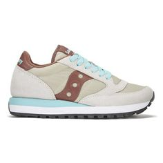 Saucony Women's Jazz Original Trainers (2 100 UAH) ❤ liked on Polyvore featuring shoes, sneakers, retro sneakers, traction shoes, tan sneakers, cushioned flat shoes and tan shoes