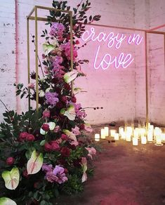 Lights are used throughout wedding reception and ceremony spaces to make them more welcoming and inviting and to create a cozy ambience. You can also make a cool wedding backdrop, arch or altar with lights. Marie's Wedding, Wedding Themes, Wedding Signs, Wedding Ceremony, Wedding Flowers, Dream Wedding, Wedding Decorations, Edgy Wedding, Crazy Wedding