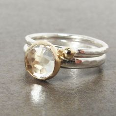 Rose Cut White Topaz Gold and Sterling Stack by LilianGinebra, $136.00