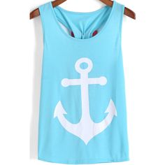 SheIn(sheinside) Light Blue Anchors Print Bow Embellished Tank Top ($7.99) ❤ liked on Polyvore featuring tops, tank tops, shirts, tanks, blue, cotton tank tops, anchor shirt, cotton cami, cotton tank and blue tank