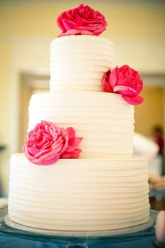White cake with beautiful blooms