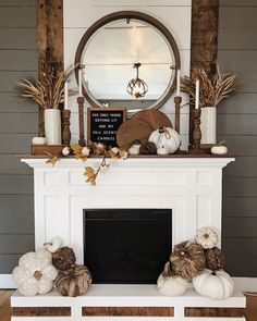 Fall neutral farmhouse home interior decor. Industrial modern farmhouse. Fall fireplace and fall mantel.