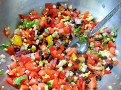 Black Bean and Corn Salsa Unprocessed Healthy Dishes, Healthy Recipes, Cilantro Recipes, Corn Salsa, Savory Foods, Sunday Suppers, Create A Recipe, Mexican Dishes, Black Beans