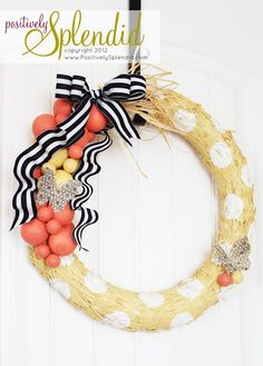 Pretty spring wreath from @Amy Bell - love the polkadots!!