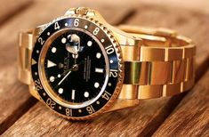 Rolex GMT Master II Yellow Gold Watch, Black Dial