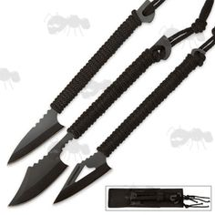 Three Black Harpoon Spear Head Knives