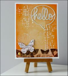 But today, I show you two cards made with Gelli Plate. This is a plate that can make its own page backgrounds with paint and all that allows you to add texture (stamps, stencils, ...).