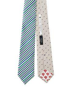 Necktie(ネクタイ)のリバーシブルレジメンギンガムタイ GREEN(ネクタイ) グリーン