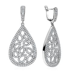 White Cubic Zirconia Multi Teardrop Dangle Hoop Earrings In Sterling Silver #Netaya #Dangle