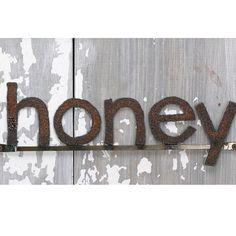 HONEY Word Sign Reclaimed Farm Metal. $44.00, via Etsy.