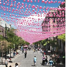 Pink Balloons Ribbon Installation In Montreal - Inner%20Ideas - Corner - Inner Design