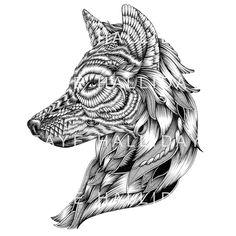 Kudarata Limited edition A3 print. #wolf #zentangle #tattoo #fayehalliday #fayehallidayart