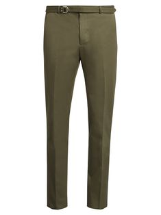 Valentino Slim-fit Belted Cotton Trousers In Green Valentino Men, Slim Legs, Fashion Advice, Fitness Models, Khaki Pants, Trousers, Menswear, Fashion Design, Fashion Trends