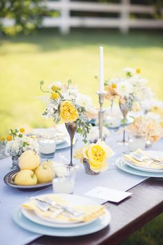 Southern wedding - blue and yellow centerpiece
