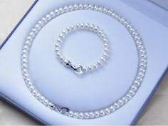 Natural Pearl Necklace Pearl Jewelry set -Love Button- 925 Sterling Silver Necklace Bracelet