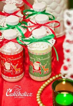 What adorable drinks at a Christmas Party ! See more party ideas at CatchMyParty.com! #partyideas #christmas
