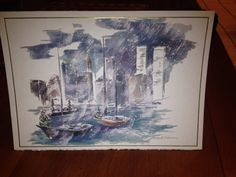 NYC Skyline (Twin Towers) Greeting Card by Mark Robinson. Holiday Cards by Cambridge Greetings #5106 by Masterpiece Studios – Distributed by Royal Stationary.