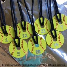 "Create a gift for the whole softball team with this fun, simple, and inexpensive DIY project Originally posted by Kirsten Dreese on Pinterest Supplies Needed (all readily available at your local Walmart): Fender washers (1-1/4"" diameter with 1/4"" hole)..."