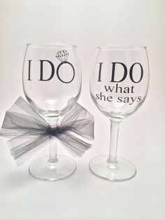 Happy Wife Happy Life, right?? This adorable set is the perfect pair of drinking glasses for any husband and wife for their wedding or any