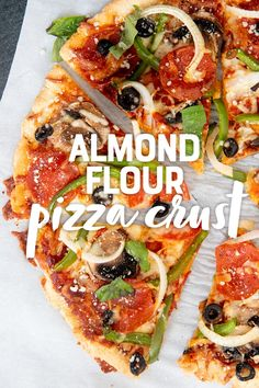 Mix up a batch of this paleo and gluten-free Almond Flour Pizza Crust Mix to make grain-free pizza night as easy as can be! #grainfreepizza #paleopizza