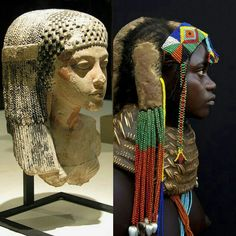 The Sidelock of Youth, now and then: The Royal daughter Meritaten, with her sidelock of ondulating plaits finished by long strands of beads; a Mumuhuila young girl from Angola, with her mud-packed, cornrowed sidelock, the ends of her braids finished by long strands of beads with silvery white sea shells dangling from them. African traditional hairstyles.